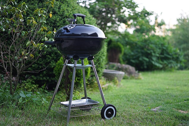 Portable grill placed outside