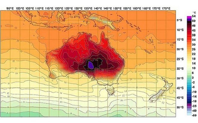 Heat map of Australia