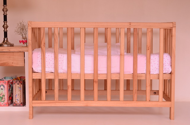 Baby crib made from wood