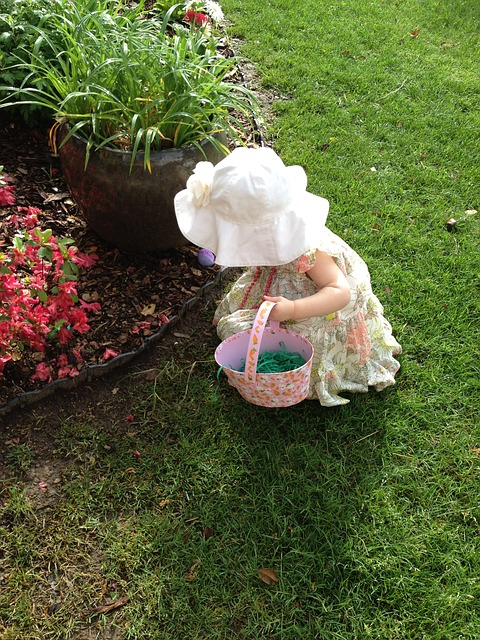 Egg hunting girl