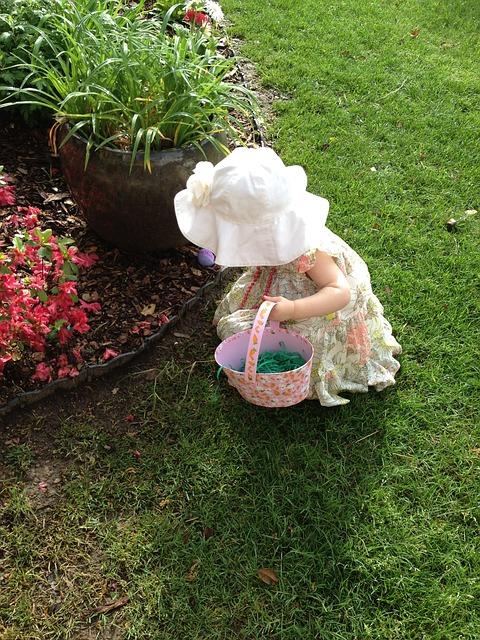 Egg hunting girl