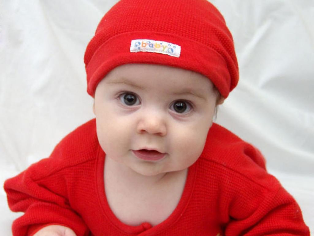 Cute baby in red