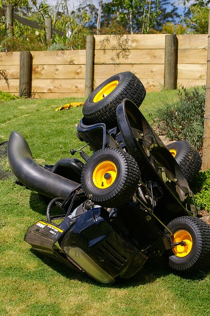 Turned over lawn mower