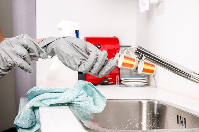 Person cleaning their home
